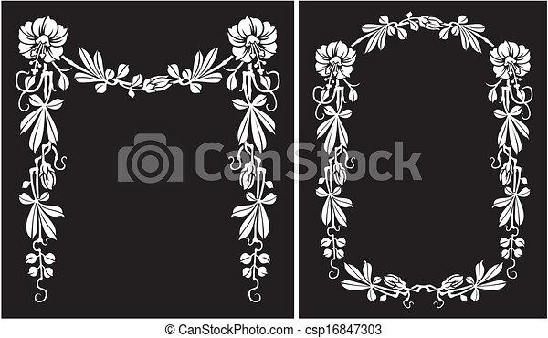 Blumen-, schwarz, rahmen, -, weißes. Schnörkel, rahmen, silhouetten ...