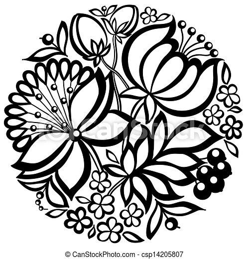 Blumen-, schwarzweiss, kreis, form, anordnung. Profil, künstler ...
