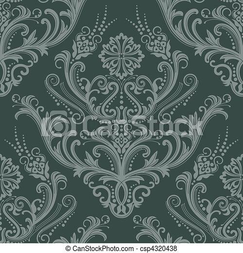 Blumen tapete gr n luxus wallpaper damast dieser for Tapete lila silber