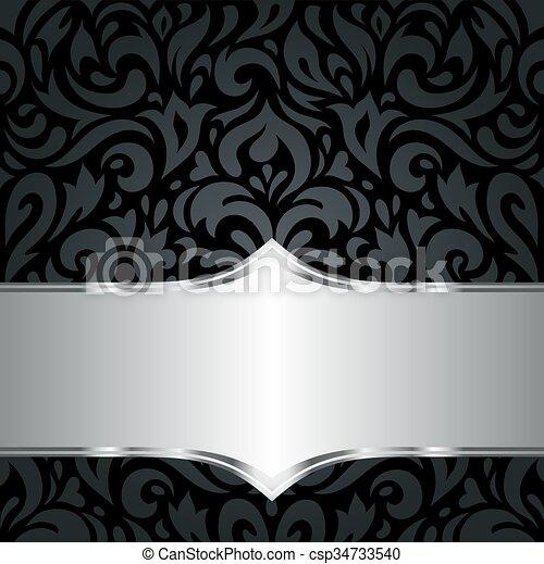 Blumen-, tapete, schwarz, silber, & &, weinlese, tapete,... EPS ...