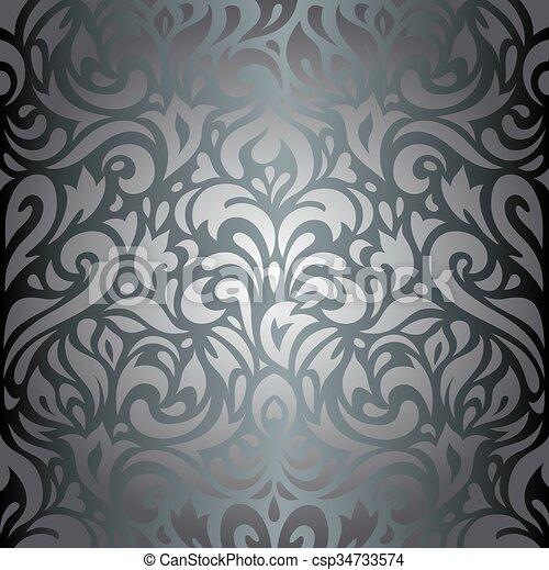 Blumen Tapete Silber Luxus Dekorativ Weinlese Tapete Design