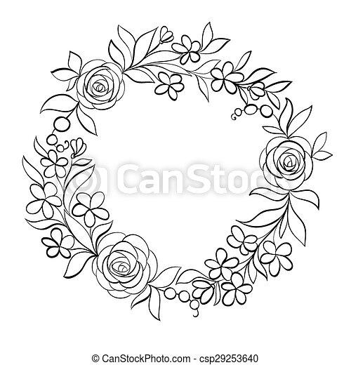 Blumen-, weißes, schwarz, rahmen. Schöne , jahreszeiten, wedding ...