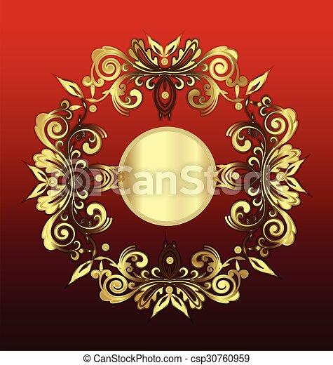 Blumen weinlese dekoration gold gold weinlese verzierung vektor hintergrund blumen - Dekoration gold ...