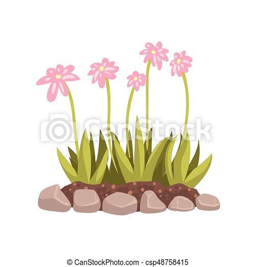 Blumenbeet, abbildung, vektor, wachsen, blumen, karikatur ...