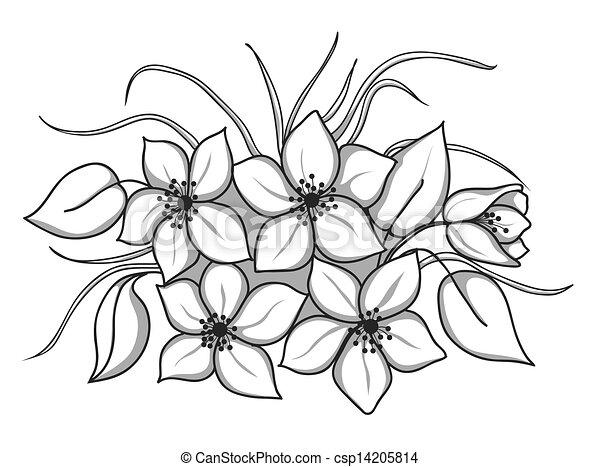 Blumengebinde, blätter, schwarzweiss, gras, blumen. Profil ...