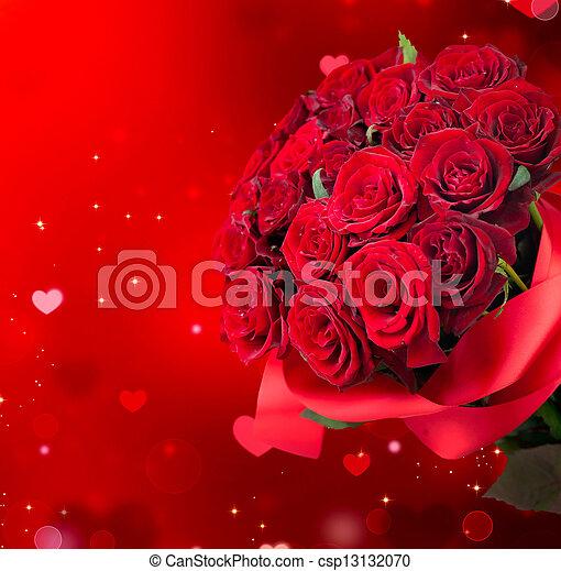 blumengebinde, groß, rote rosen - csp13132070