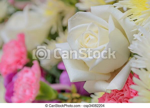 Blumengebinde, rose, weiße blume. Blumenbouquet, rose, ende ...