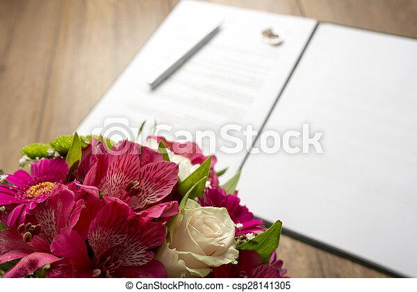 Blumengebinde Tisch Blumen Hochzeit Vertrag
