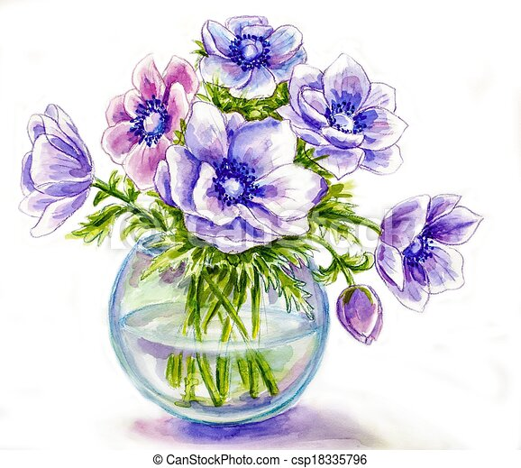 blumenvase, frühjahrsblumen, aquarell, abbildung - csp18335796