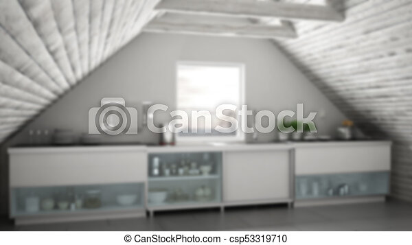 Blur Background Interior Design Scandinavian Industrial Kitchen Loft Mezzanine Roof Architecture Stock Photo & Blur background interior design scandinavian industrial kitchen ...