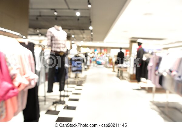 Blur background with bokeh light of Department store - csp28211145