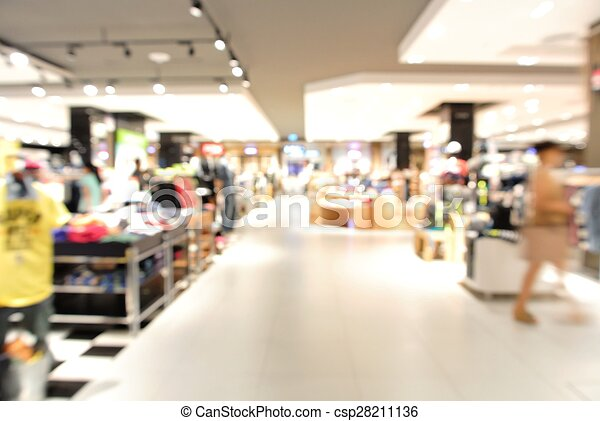 Blur background with bokeh light of Department store - csp28211136
