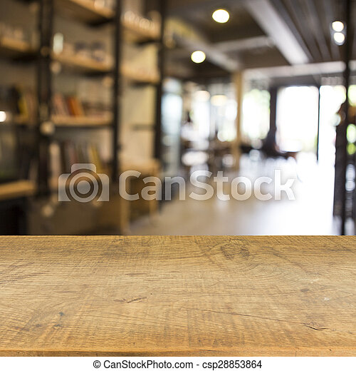 Blur cafe and wood floor texture background - csp28853864