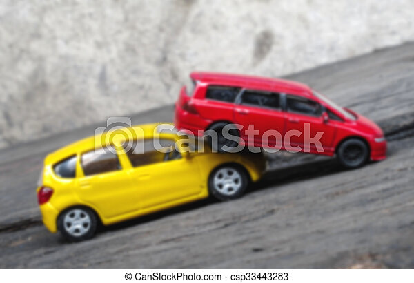 Blur Of Crashed Toy Cars Yellow And Red Toy Cars In Accident Blur