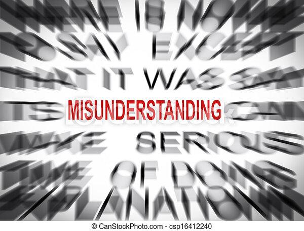 blured text with focus on misunderstanding