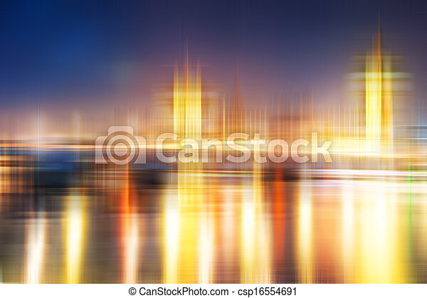Blurred abstract city skyline colorful background - csp16554691