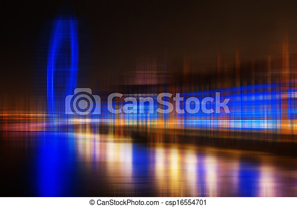 Blurred abstract city skyline colorful background - csp16554701