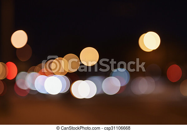 Blurred Background Of Night City Cars Lights Natural Bokeh Canstock
