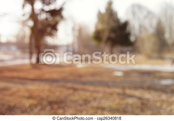 blurred background with park in early spring - csp26340818