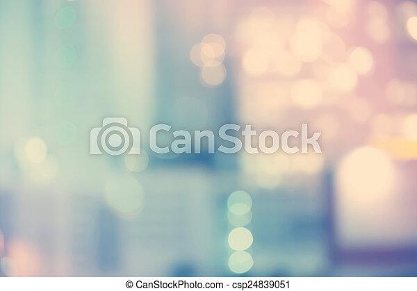 Blurred blue cityscape background scene  - csp24839051