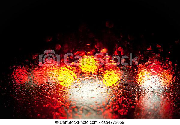 Blurred Car Lights In The Rain