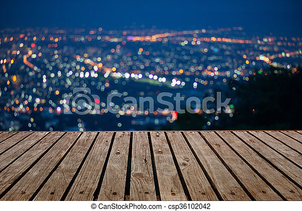 Blurred focus of big city in night time, cityscape, Bokeh of the city at night. - csp36102042
