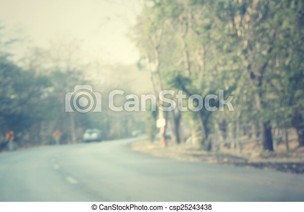 Blurred forest with road - csp25243438