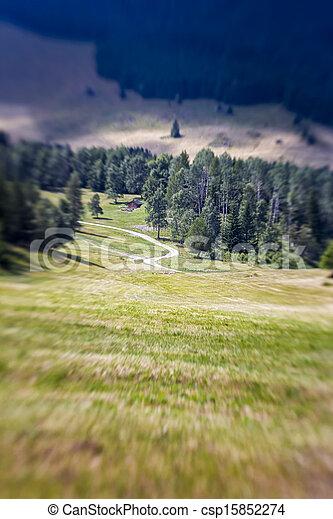 Blurred Mountain Pathway. Lensbaby Shot - csp15852274