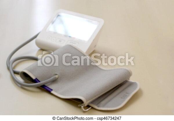 blurred picture, modern digital blood pressure - csp46734247