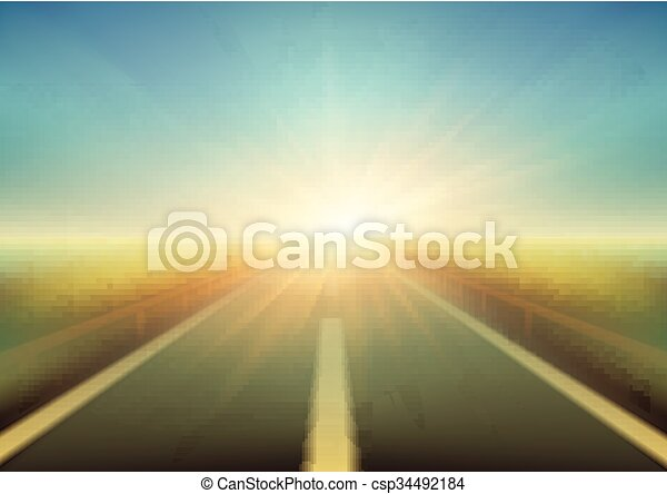 Blurred  road and blue motion blurred sky with clouds. Vector illustration - csp34492184