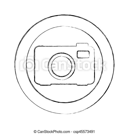 blurred silhouette circular frame with tech camera - csp45573491
