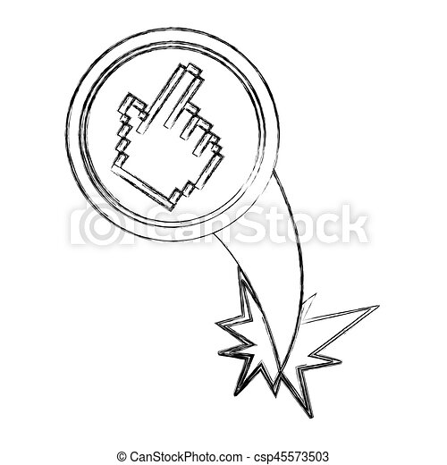 blurred silhouette circular frame with pixelated hand pointing - csp45573503