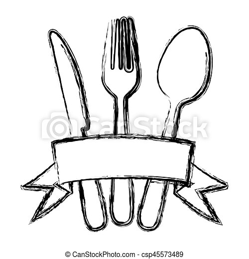 blurred silhouette cutlery kitchen elements with ribbon - csp45573489