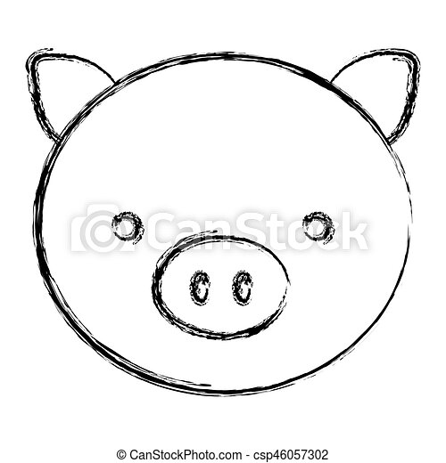 Blurred Sketch Silhouette Face Cute Pig Animal Vector Illustration