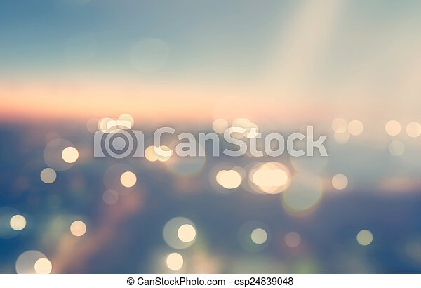 Blurred urban background scene at dawn from above - csp24839048