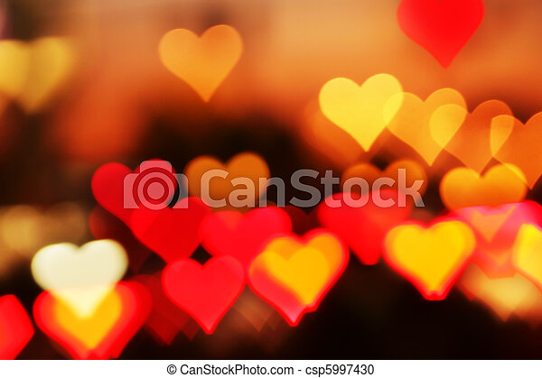 Blurred valentine background with heart-shaped highlights. - csp5997430
