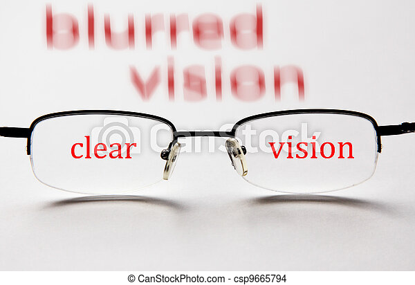 blurred vision clear vision with glasses - csp9665794
