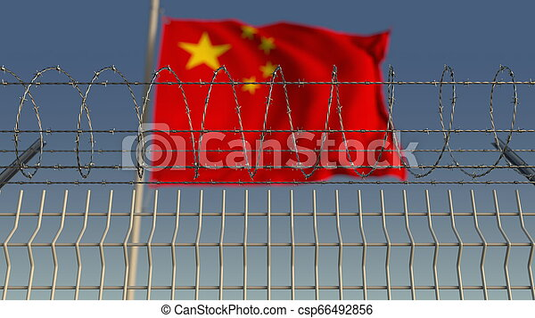 Blurred waving flag of China behind barbed wire fence. 3D rendering - csp66492856
