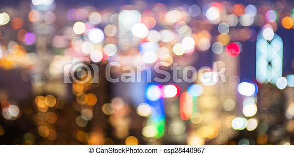 blurry and bokeh og big city in night time. - csp28440967