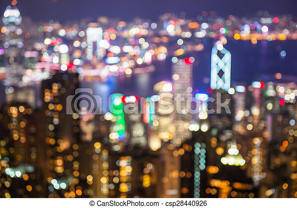 blurry and bokeh og big city in night time. - csp28440926