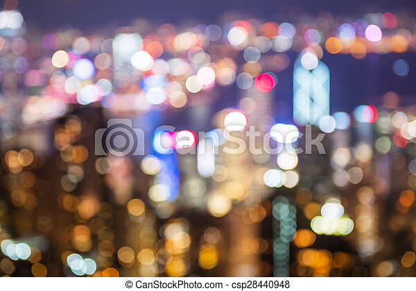 blurry and bokeh og big city in night time. - csp28440948