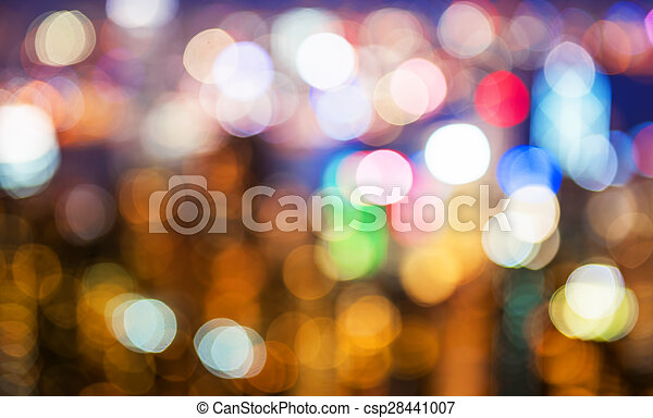 blurry and bokeh og big city in night time. - csp28441007
