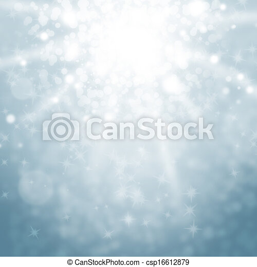 blurry lights and sparkles on a blue sky - csp16612879