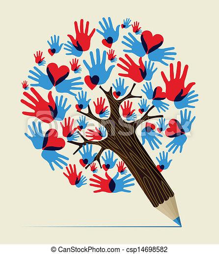 blyertspenna, begrepp, kärlek, träd, räcker - csp14698582