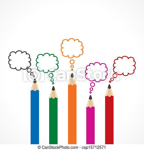 blyertspenna, meddelande, bubbla, färgrik - csp15712571