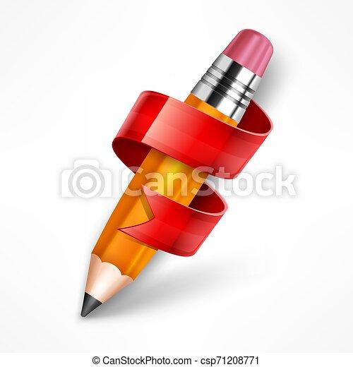blyertspenna, vektor, illustration., ribbon. - csp71208771