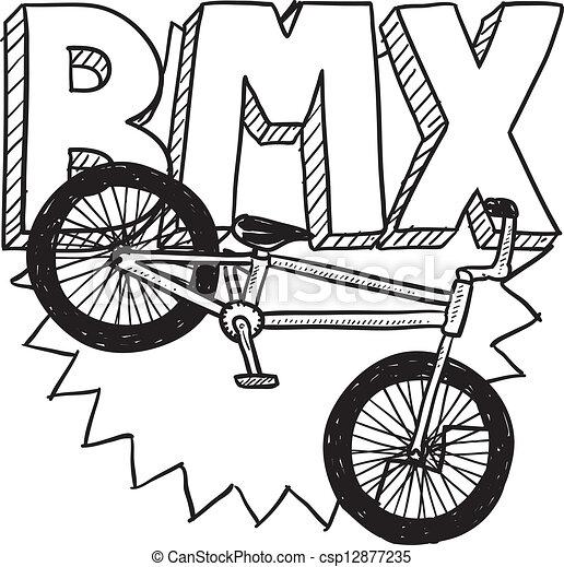 Bmx bike sketch. Doodle style bmx bike sports illustration ...