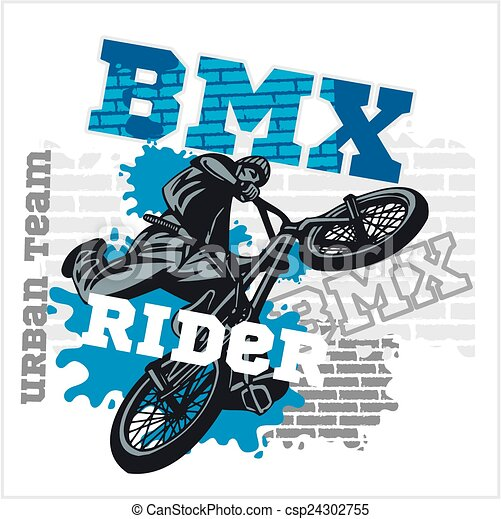 BMX rider - urban team. Vector design. - csp24302755