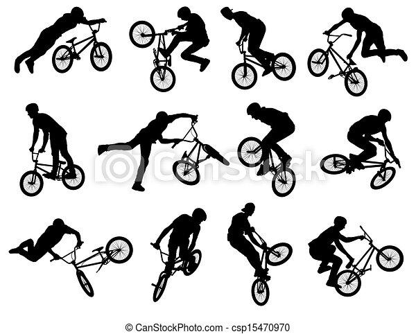 BMX stunt cyclist silhouettes - csp15470970
