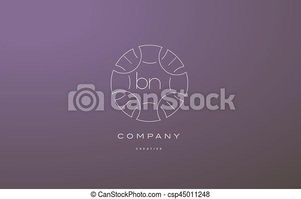 Bn B N Monogram Floral Line Art Flower Letter Company Logo Icon Design Bn B N Monogram Lineart Vintage Retro Flower Alphabet